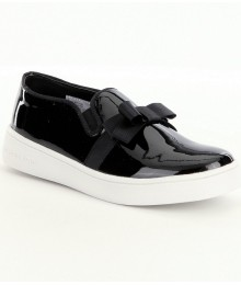 michael kors black patent ivy besy-t slip on sneakers