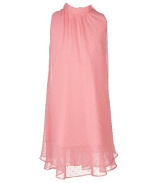 soprano pink chiffon mock neck swiss dot swing dress