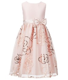 Jayne copeland blush/peach wt sequin embroidery girls dress