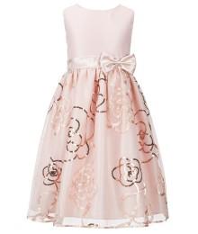 Jayne copeland blush/peach wt sequin embroidery girls dress