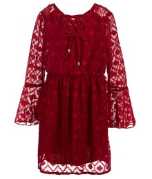 xtraordinary red chiffon burnout bell-sleeve dress