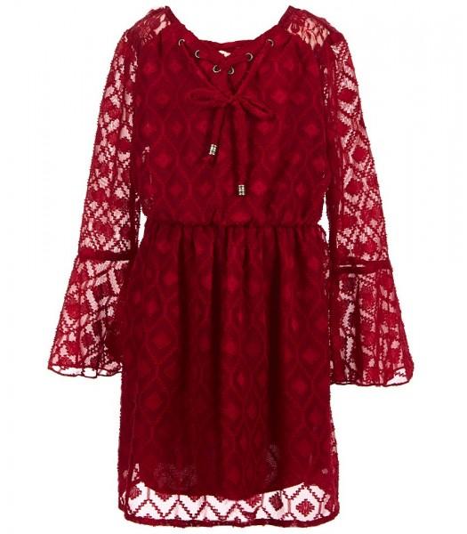 xtraordinary red chiffon burnout bell-sleeve dress