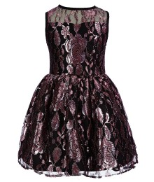 marmellata black/pink floral metallic lacy skater dress