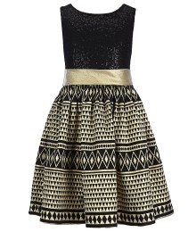 Bonnie jean gold/black sleeveless sequin bodice dress