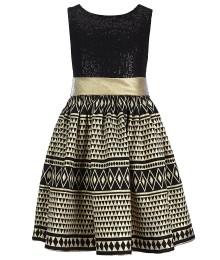 Bonnie jean gold/black sleeveless sequin bodice dress