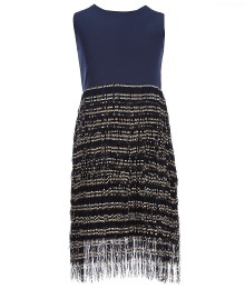 elisa b navy fringe -skirt shift dress