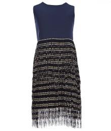 elisa b navy fringe -skirt shift dress