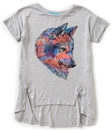 gb girls grey hi-low girls tee wt wolf print wt double side -slit