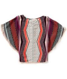 gb girls multi print flutter blouse
