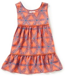 gb girls neon coral printed tiered sleeveless top  Big Girl