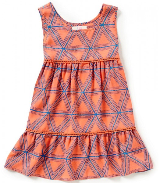 gb girls neon coral printed tiered sleeveless top