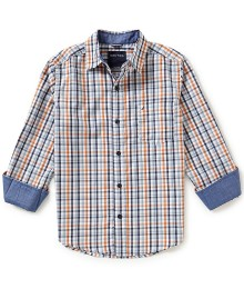 nautica orange/multi plaid l/s shirt