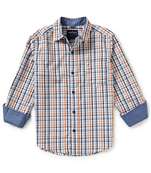 nautica orange/multi plaid l/s shirt