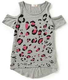 gb girls grey cold shoulder girls tee wt leopard print