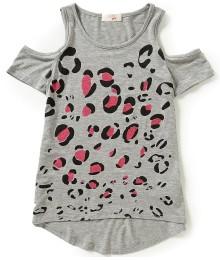 gb girls grey cold shoulder girls tee wt leopard print Big Girl