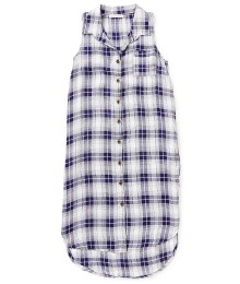 copper key navy and white plaid sleeveless duster top