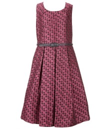bonnie jean pink metallic dotted brocade  belted dress