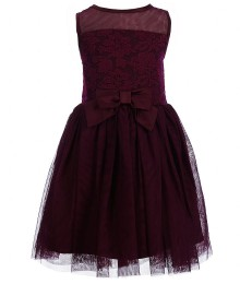 Zunie burgundy embroidered mesh little girl dress