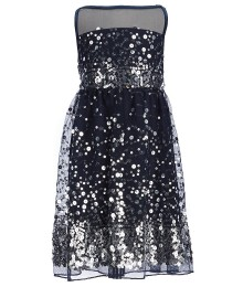 honey and rosie navy/silver sequined mesh dress