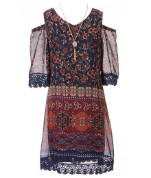 xtraordinary navy/wine floral print chiffon cold shoulder shift dress wt necklace