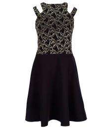 penelope black double strap skater dress