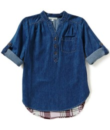 copper key chambray front girls shirt top wt plaid back