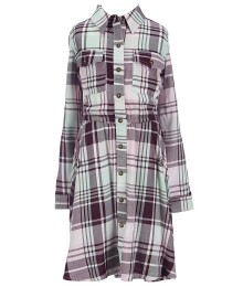 copper key grey/mint/pink plaid l/sleeve hi-lo dress