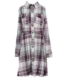 copper key grey/mint/pink plaid l/sleeve hi-lo dress