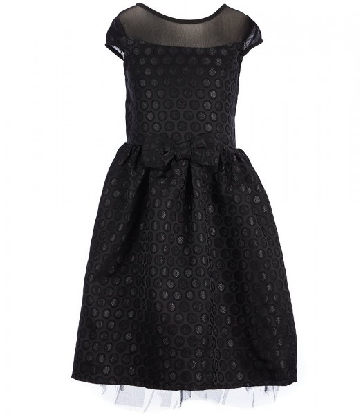 honey and rose black dotted a-line dress wt illusion n bow