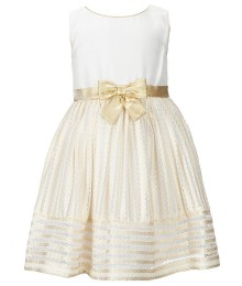 Sweet herat rose ivory/gold sleeveless bow dress