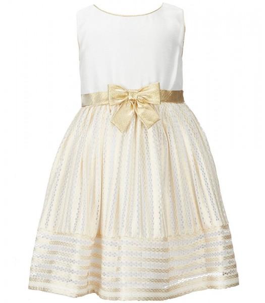 Sweet herat rose ivory/gold sleeveless bow dress  Little Girl