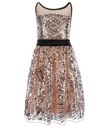 Poppies and roses blush/black girls illusion sequin dress