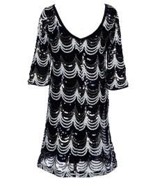poppies and rose navy/silver scalloped sequin dress Big Girl