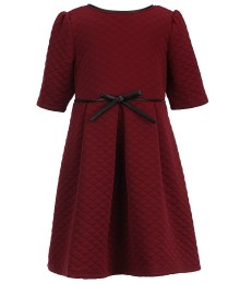 honey and rose burgundy/wine quilted skater dress wt bow  Little Girl