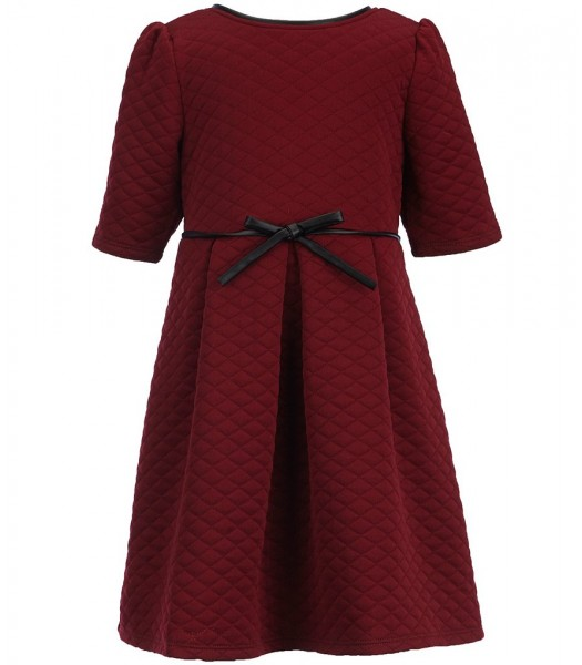 honey and rose burgundy/wine quilted skater dress wt bow