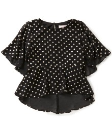 gb girls black/gold metallic-foil dotted hi-low blouse