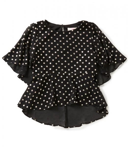 gb girls black/gold metallic-foil dotted hi-low blouse