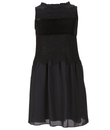 gb girls black velvet and lace paneled trapeze dress