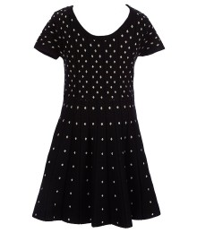 gb girls black/gold dotted sweater-knit swing dress