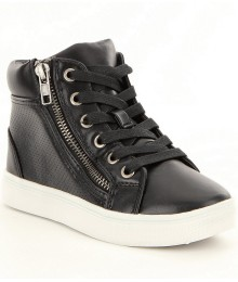 steve madden black perforated high top girls sneaker