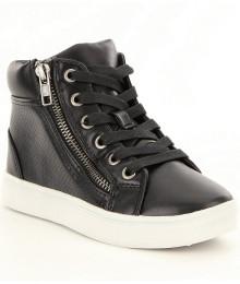 steve madden black perforated high top girls sneaker