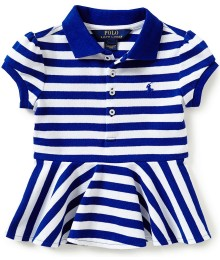 ralph lauren blue/white striped peplum-hem polo shirt