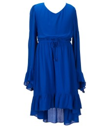 gb girls cobalt blue bell-sleeve ruffle hi-low dress