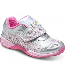 Stride rite silver/pink cinderella light-up girls sneakers