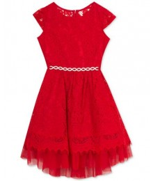 Rare editions red lace and mesh wt silver ribbon girls dress