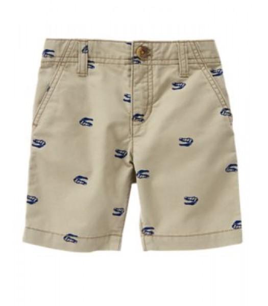 crazy8 khaki wt blue print shorts