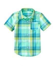 crazy8 yellow/turq/white check shirt  Little Boy