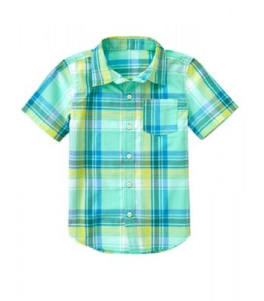 crazy8 yellow/turq/white check shirt