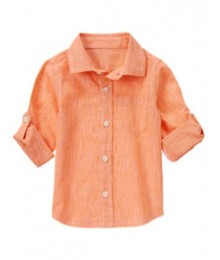 crazy8 orange linen look ministrip ls shirt