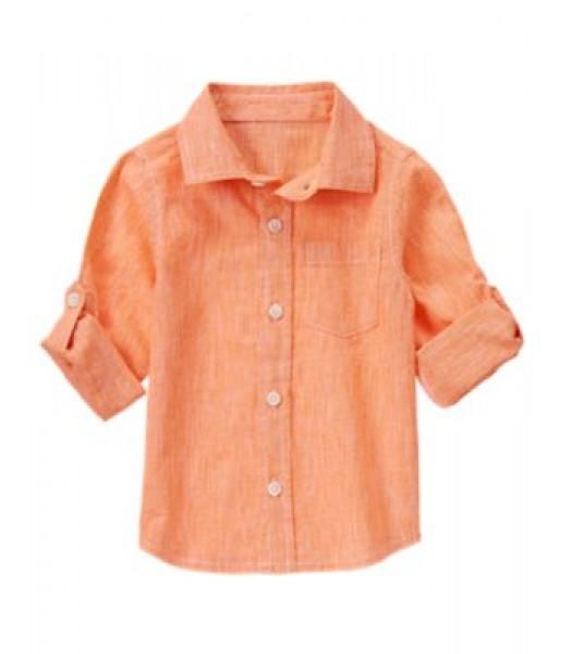 crazy8 orange linen look ministrip ls shirt
